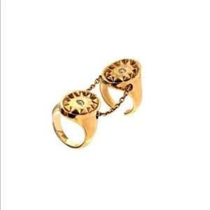 House of Harlow Gold Double Metal Sunburst Ring